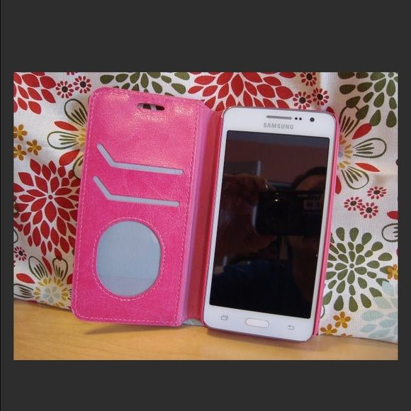 Pink IPhone 6s cell phone wallet Brand New Samsung Galaxy Grand Prime Cell Phone case ( phone NOT INCLUDED) with 2 card slots drivers license slot, back slot for cash , magnetic closer . Folding stand Accessories Phone Cases