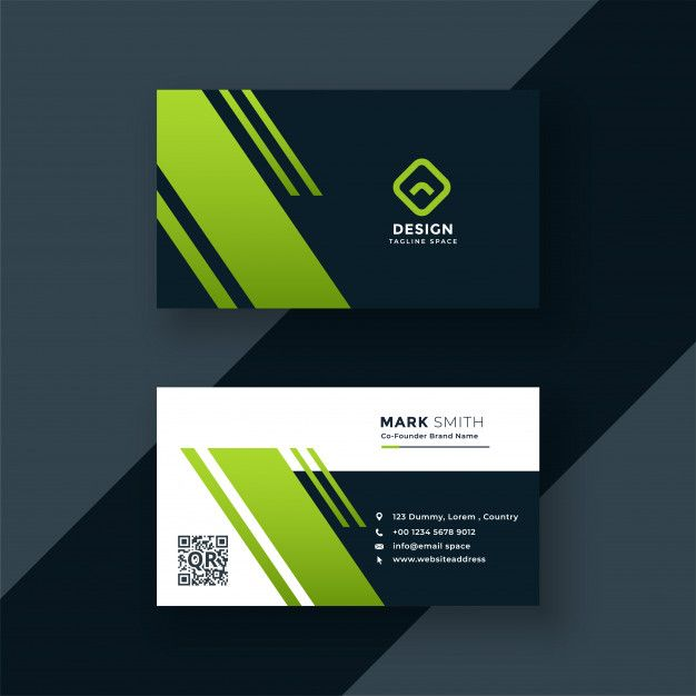 Dark Green Business Card Professional Design Free Vector File