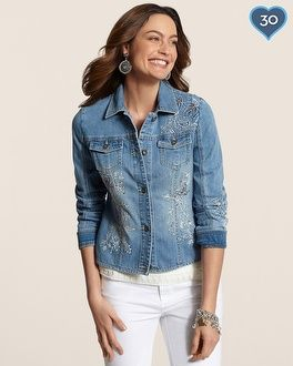 Chico's Floral Embroidered Denim Jacket #chicos