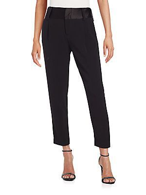 Alice + Olivia Satin-Trimmed Pants - Black - Size 4