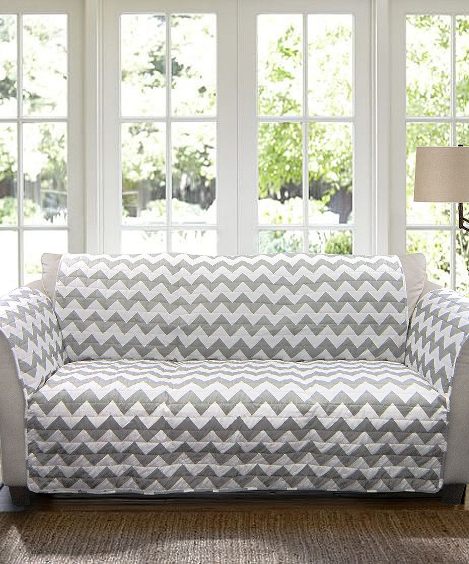 Love this Gray & White Chevron Sofa Protector by Lush Décor on ...