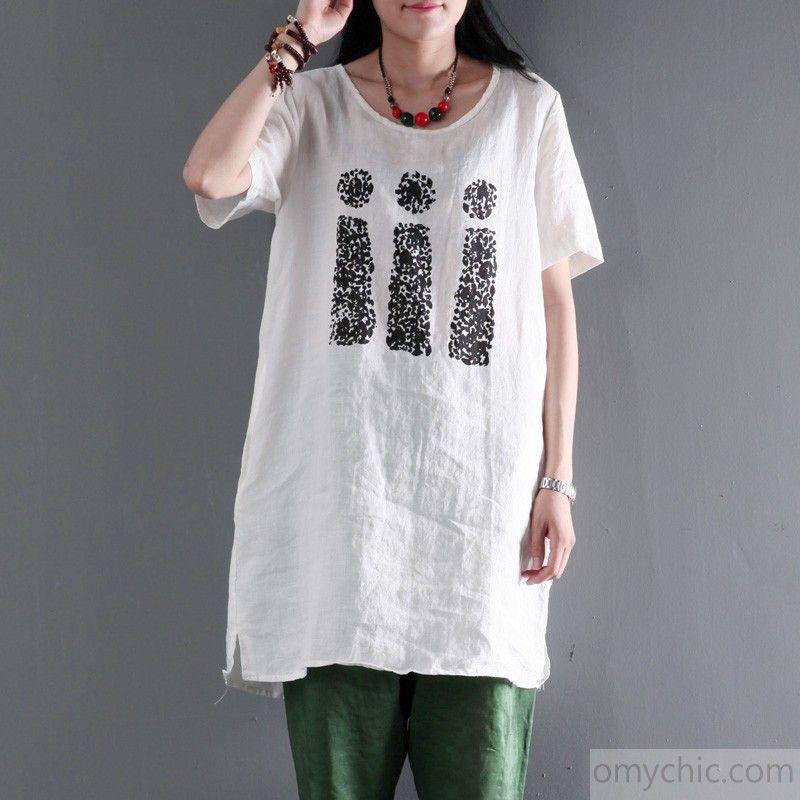 white linen women shirt dress plus size blouse top - love our