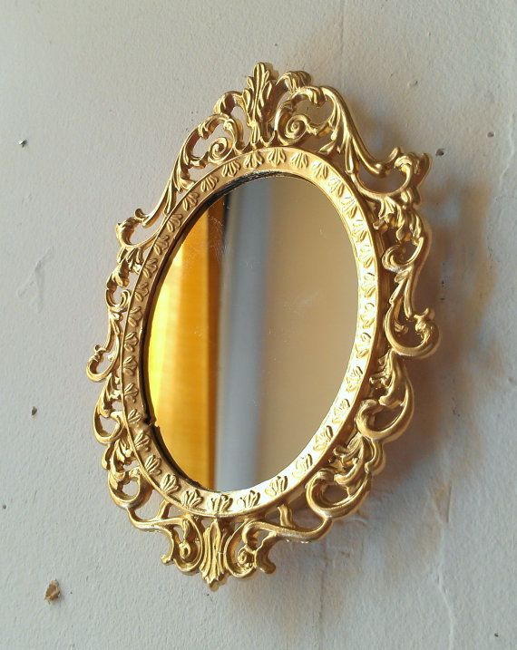 Tiny Bright Gold Mirror In Ornate Oval Frame Miniature Fairy Garden Office Cubicle Wall Art Decor Wall Collage Vint Vintage Gold Mirror Wall Collage Mirror
