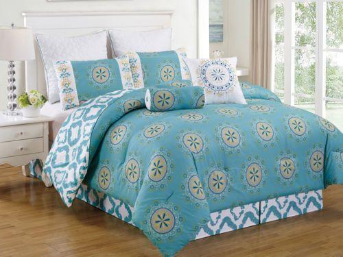 12-Piece-Arocena-Teal-Bed-in-a-Bag-Set