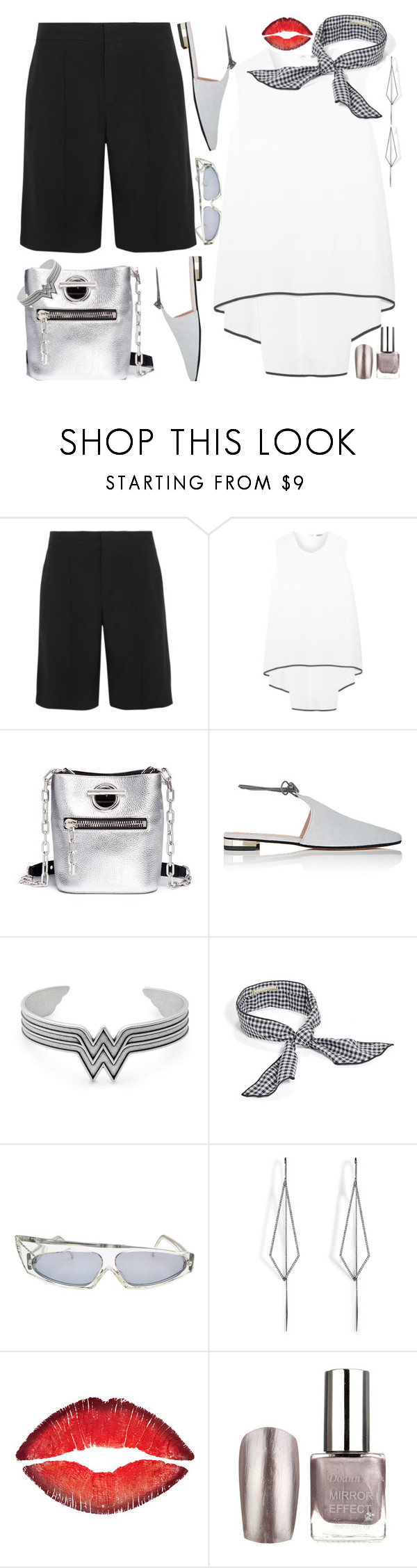 """Black/White/Silver & Lips"" by petalp ❤ liked on Polyvore featuring Chloé, ADAM, Alexander Wang, Barneys New York, Alex and Ani, BaubleBar, Alain Mikli, Diane Kordas, Givenchy and 60secondstyle"
