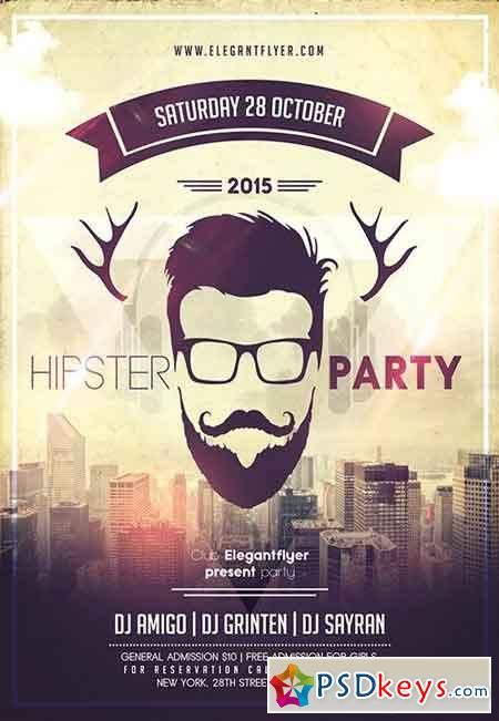 Hipster Party Flyer PSD Template + Facebook Cover ads - party flyer