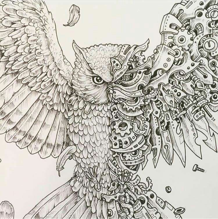 Your Back Is The Perfect Place For This Cool Bio Mechanical Owl To Rest Http Www Steampunkshoppe C Steampunk Tattoo Steampunk Art Drawing Steampunk Drawing