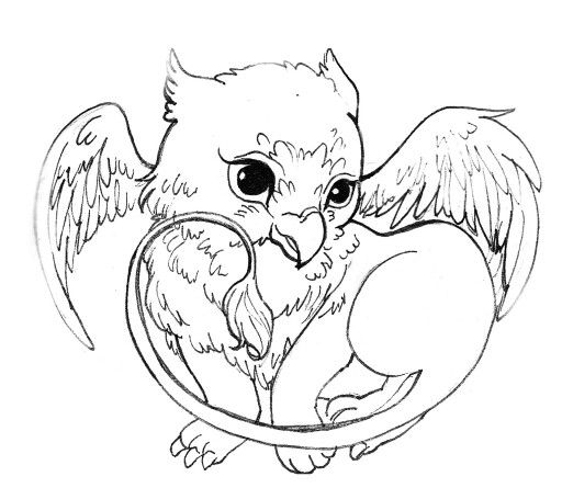 Baby Griffin Dragon Coloring Page Detailed Coloring Pages Animal Coloring Pages
