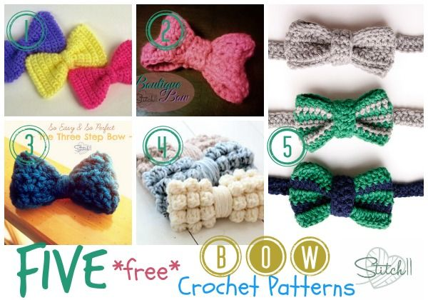 Five Free Crochet Bow Patterns | CrochetHolic - HilariaFina ...