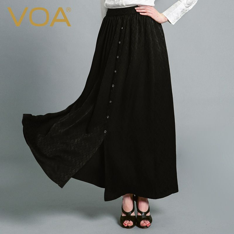 Find More Skirts Information about VOA black silk jacquard skirt female 2016 simple leisure all match silk skirt C6116 A,High Quality skirts pink,China skirt lace Suppliers, Cheap skirts boots from VOA Flagship Shop on Aliexpress.com