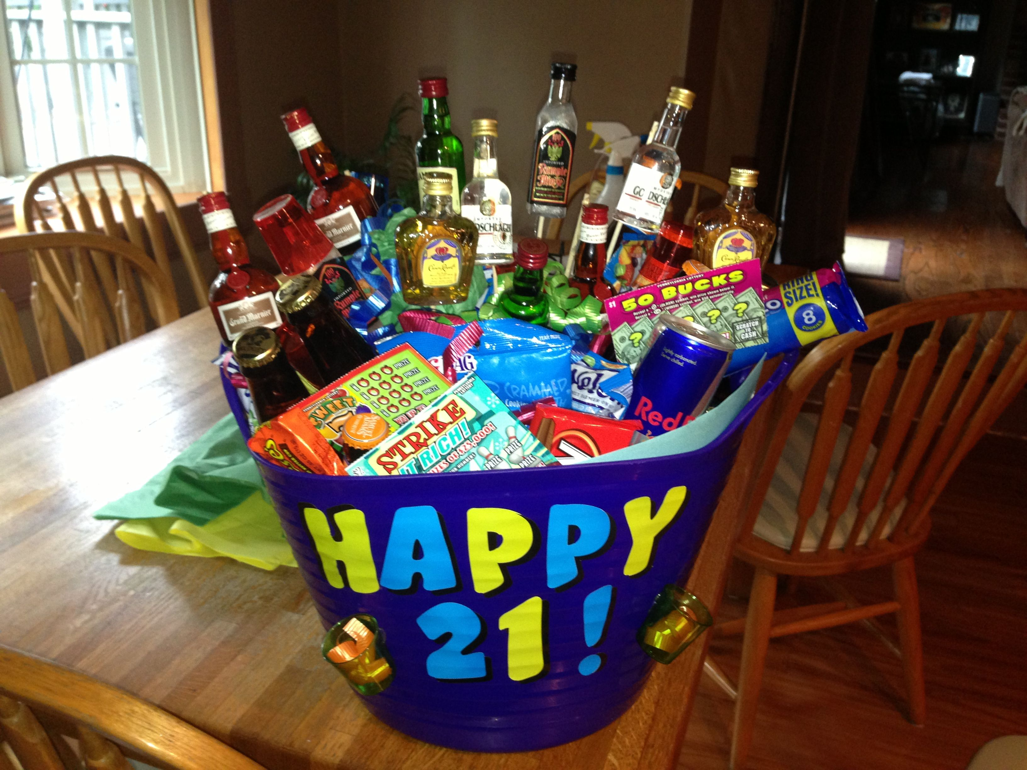 21st birthday basket for boyfriend Crafty Pinterest 21st