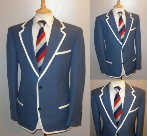 SUPERB MENS 44 BLUE BOATING REGATTA COLLEGE ROWING BLAZER