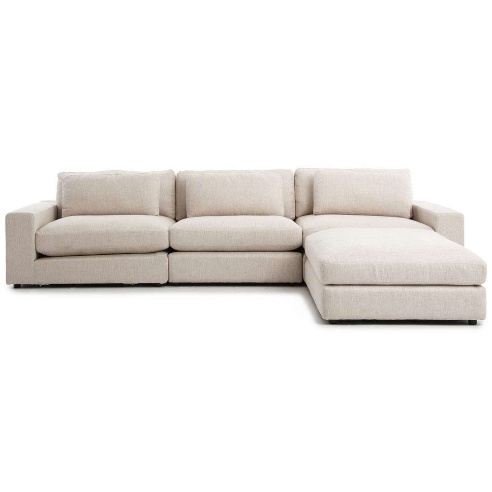 Cornerstone Modern Classic Beige Linen Sectional Sofa 131x92
