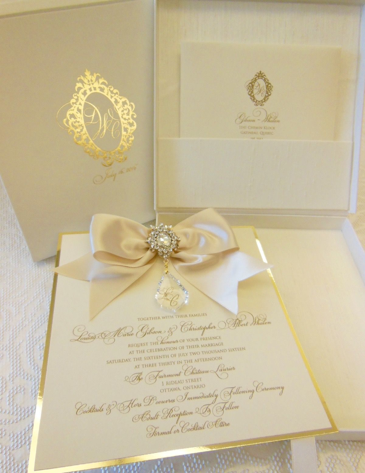 Versailles Ivory And Gold Hanging Crystal Invitation Sent In A