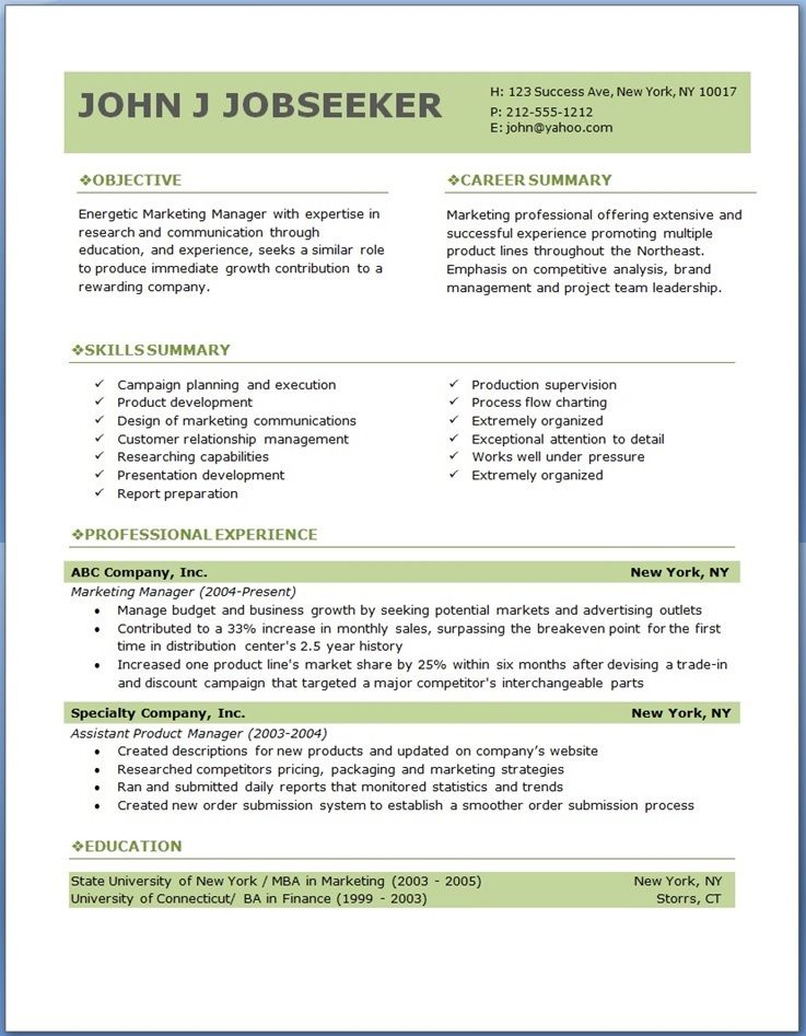 Resume Templates Marketing Professionals