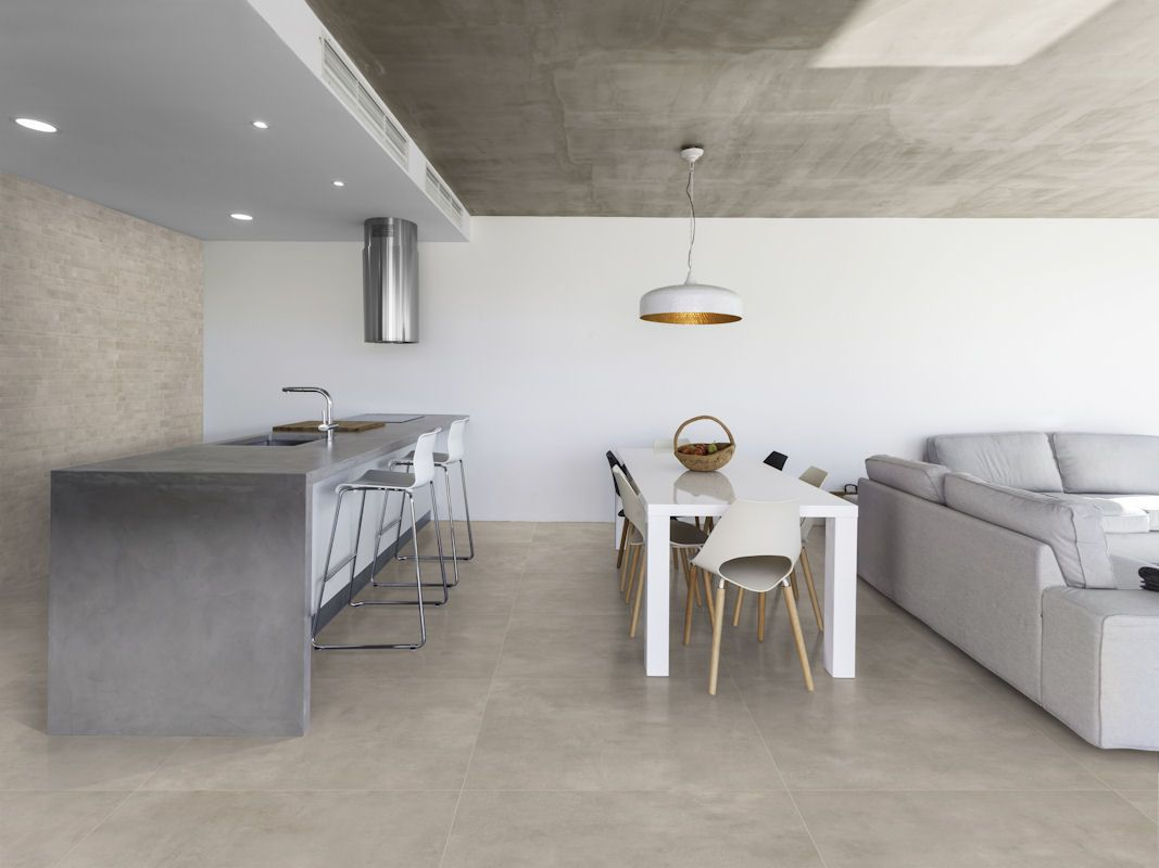 cemento light grey matt concrete look porcelain tiles | mandarin