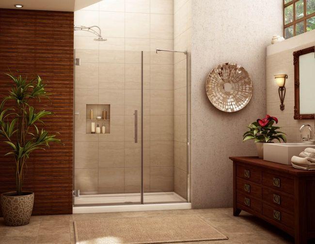 GroB Bad Design Ohne Fliesen Wand Holz Paneele Beige Duschebereich