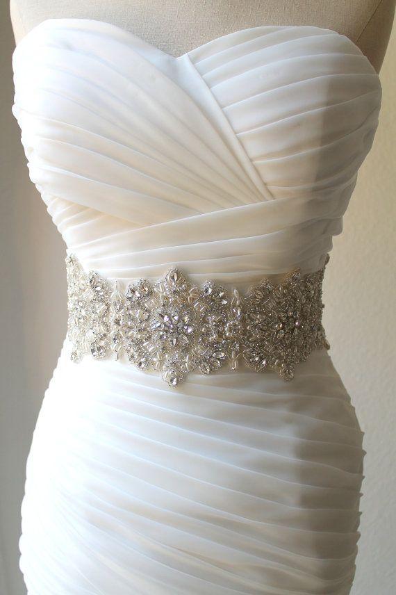 Luxury Thick Wide Statement Swarovski Crystal Pearl Bridal Sash