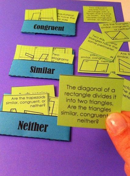 Clasificación de tarjetas similar vs. congruente | Matemáticas ...