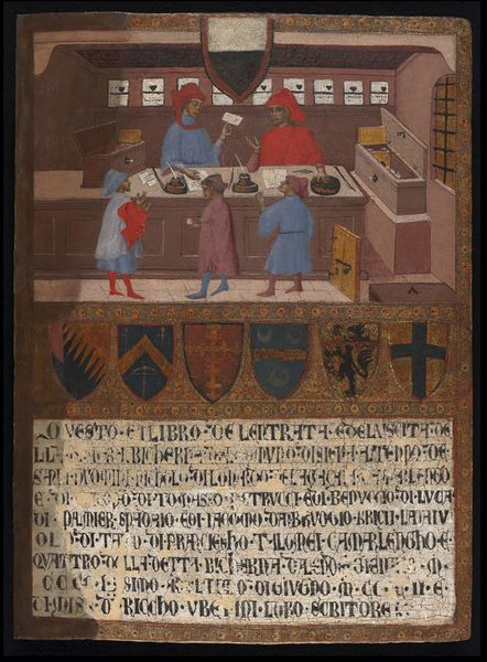 Tempera on panel, 'Tavoletta di Biccherna: with the Camarlingo Niccolò di Leonardo della Gazaia, his Scrivener and three taxpayers', cover of a Sienese account-book, Sienese School, 1402