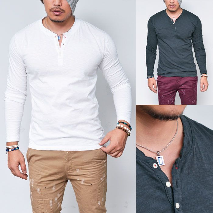 Timeless Must Slub Henley Neck-Tee 587 - GUYLOOK