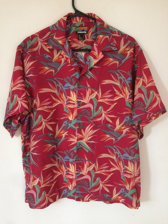 1869fc06 Vintage Iconic 1986 Patagonia Pataloha men's M rayon Birds of Paradise camp shirt  Aloha Tiki