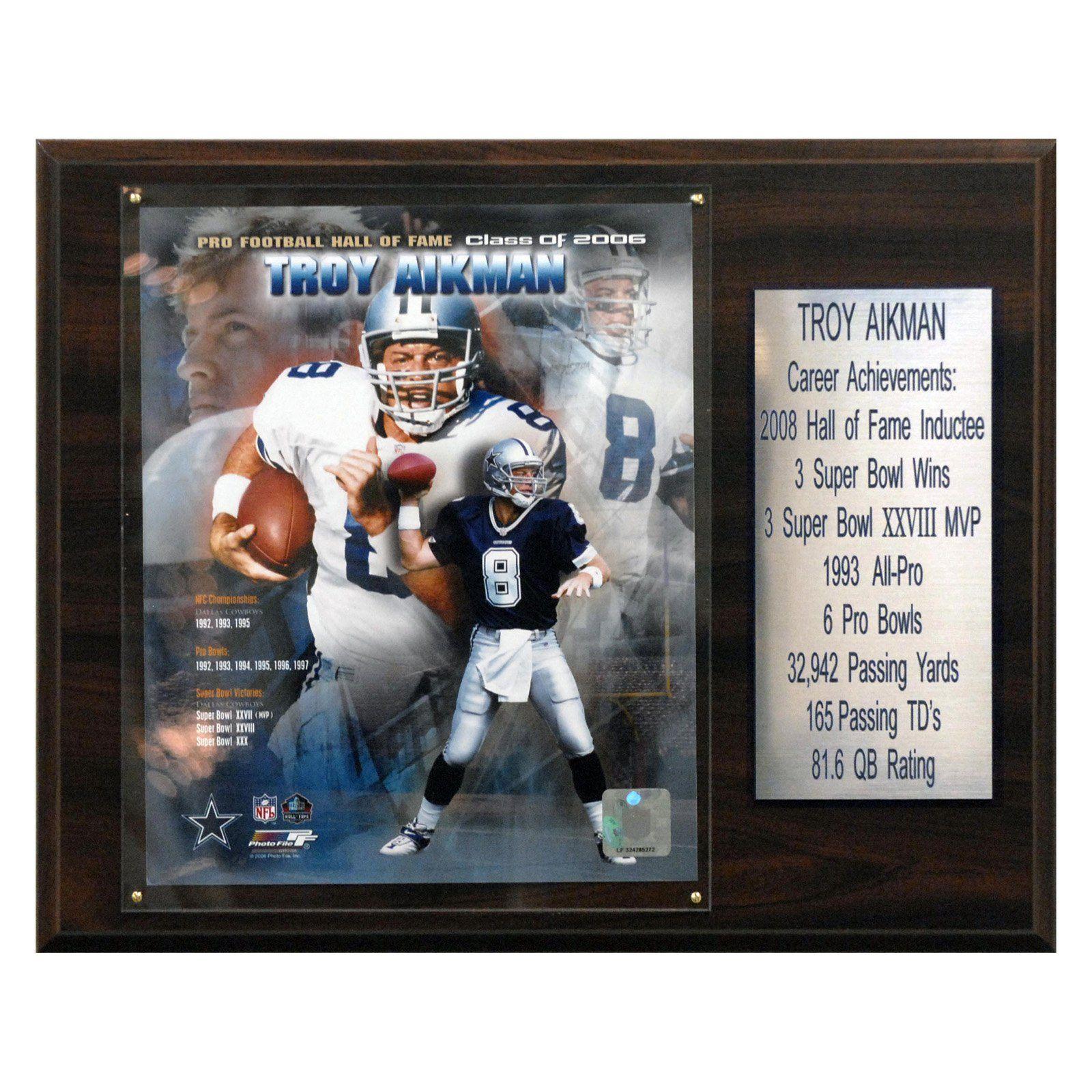 NFL 12 x 15 in. Troy Aikman Dallas Cowboys Career Stat Plaque - 1215AIKMANST b37bd082f