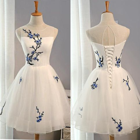 New Arrival White Tulle Appliques Cheap Short Prom Dress Homecoming Dresses For Teens Graduation Gowns,56