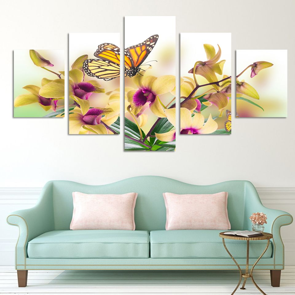 No frame paintings fashion design 5 panel modern wall for A mural is painted on a