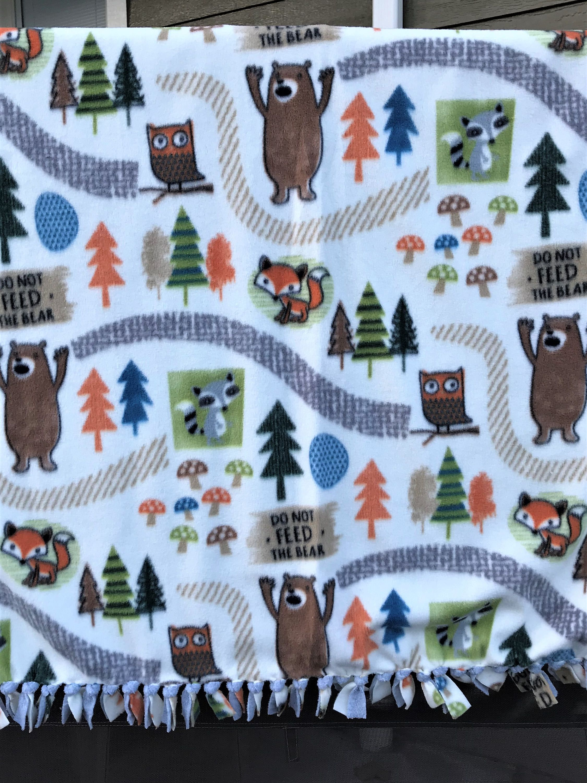 Woodland creatures fleece tied edge baby blankettoddler throw baby