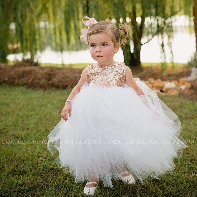 Champagne Tutu Dress White and Champagne Flower Girl Tutu Dress-Tutu Dress-Off White Tutu-Off White Dress-Champagne Flower Girl Tutu