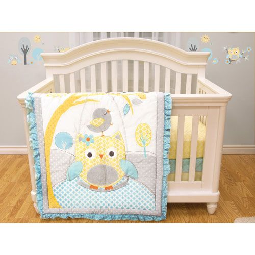 Baby S First 4 Piece Infant Bedding Crib Set Owl Swing