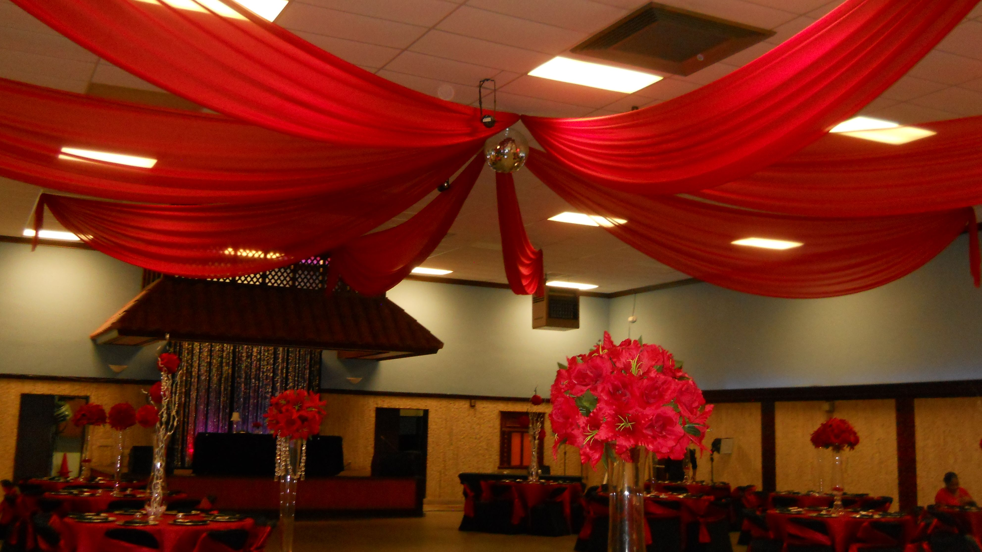 Red Chiffon Ceiling Drape Ceiling Drape In 2019 Gold Ceiling
