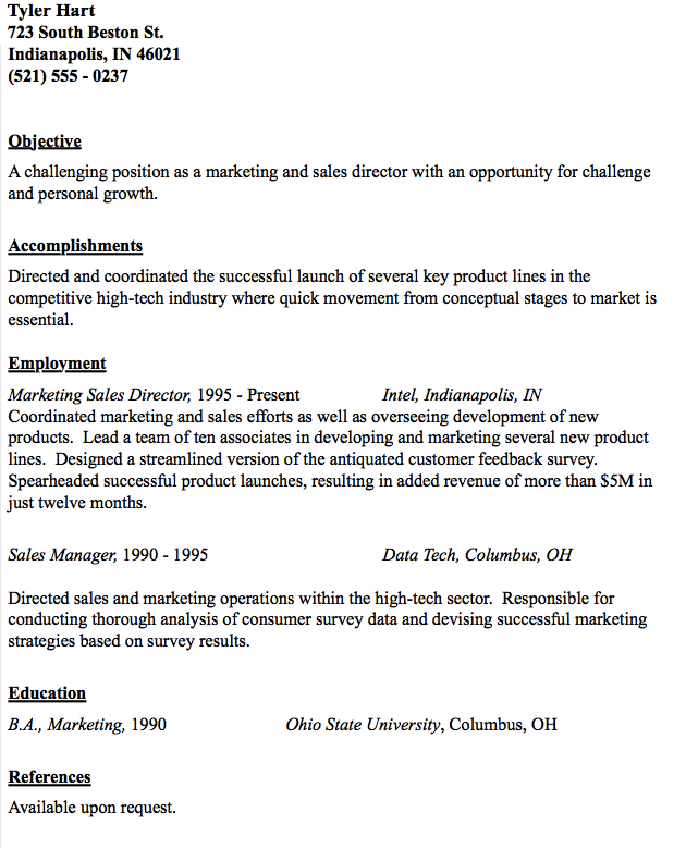 Example Of Marketing Director Resume