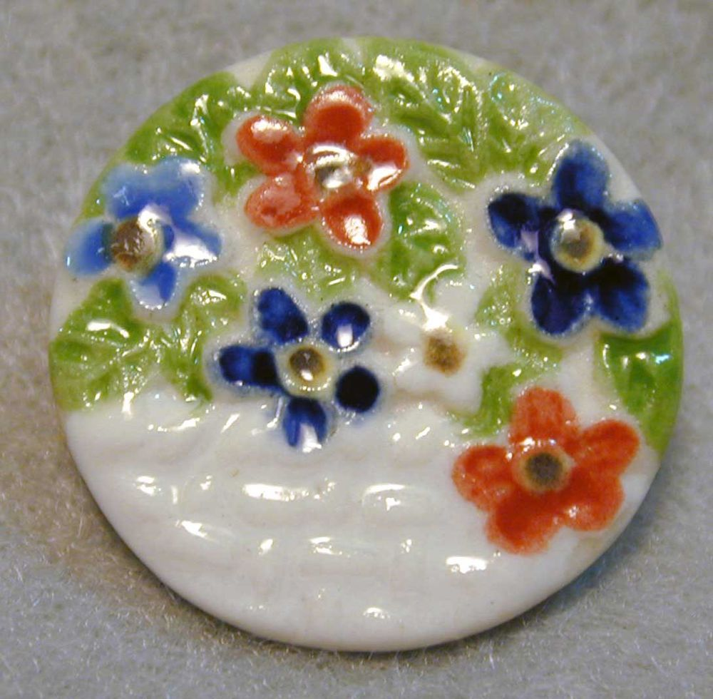Handcrafted Porcelain Button  Colorful Flowers & Basket Weave  FREE US SHIPPING