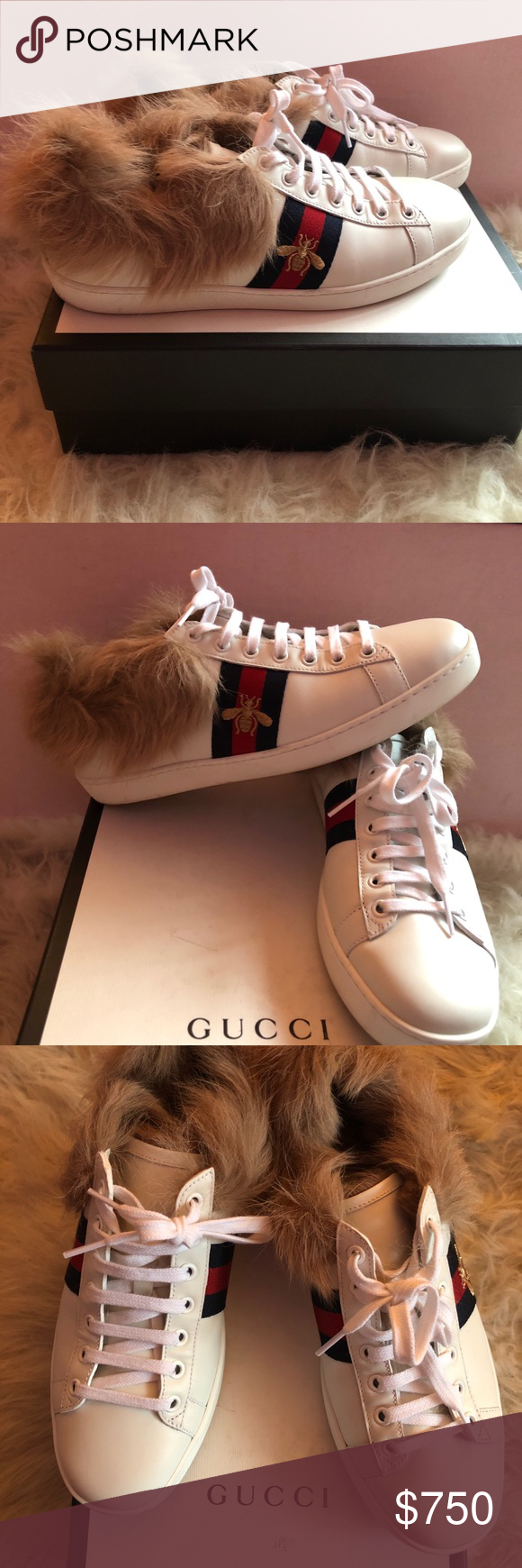 469f54d8a Brand NEW Gucci Ace leather & lamb fur sneaker Authentic Gucci sneakers  with box True to size Real lamb fur lining EU size 39 / US 8 Gucci Shoes  Sneakers