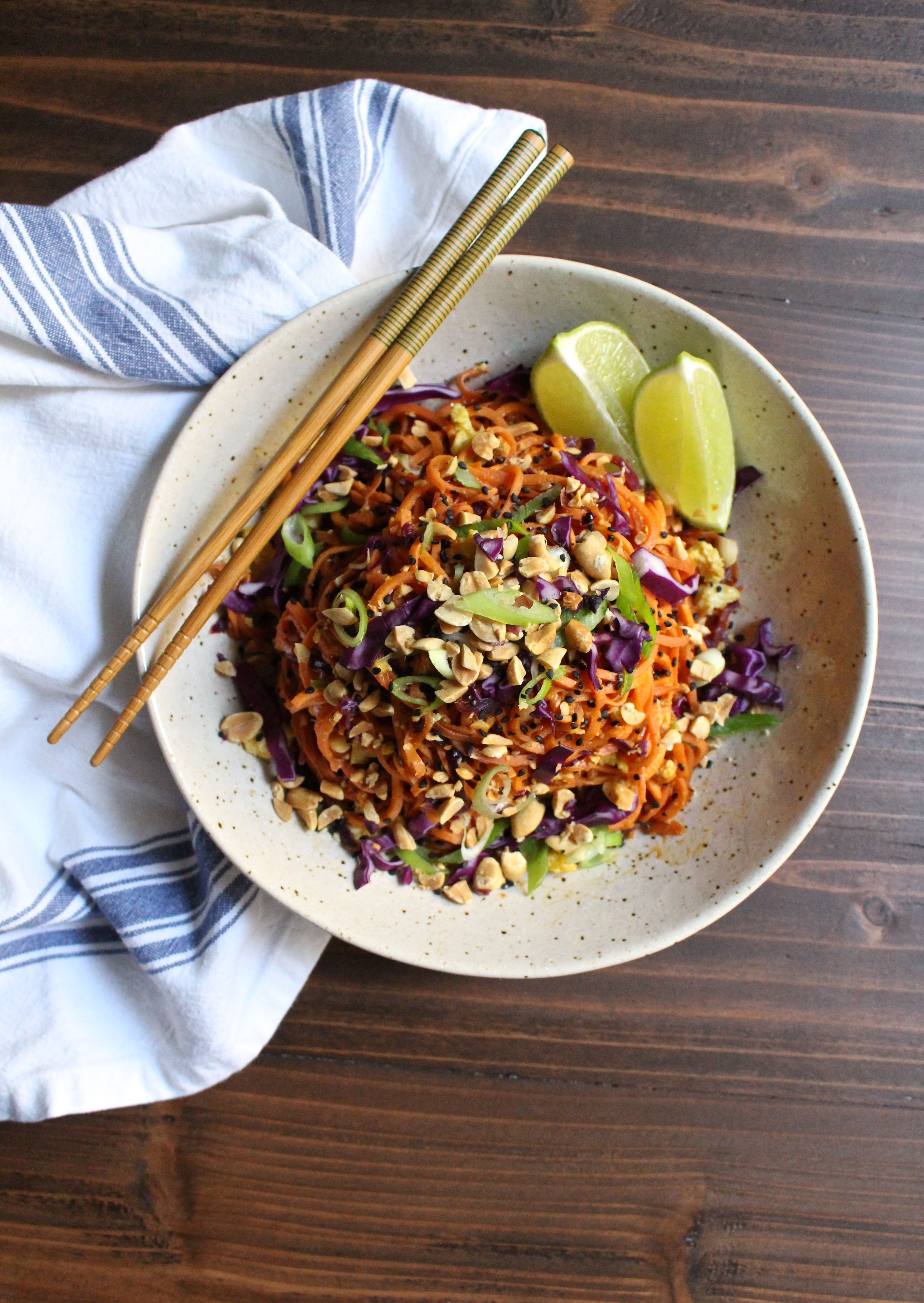 sweet potato and cabbage pad thai paleo lunch zoodles