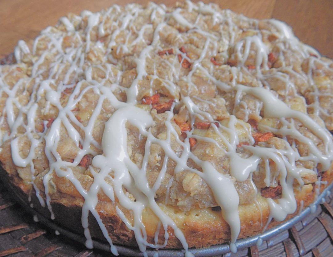 Cinnamon apple coffee cake with a vanilla glaze recipe