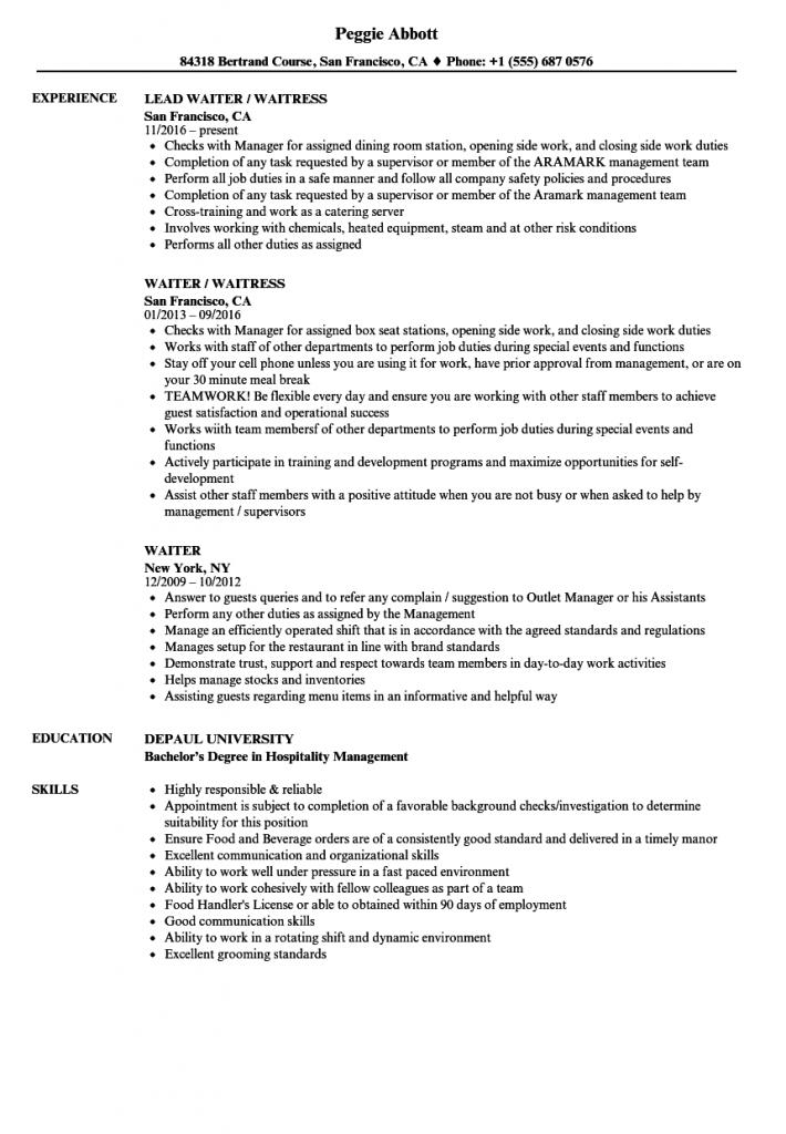 Common Letters Resume For Waitress Waiter Resume Samples Velvet Jobs Sample Resume For Waitress Job Resume For Experienced Waitress Resume Examples Waitress