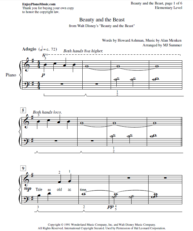 Piano hello piano sheet music : Beauty and the Beast Sheet Music Easy Piano for Kids and Adult ...