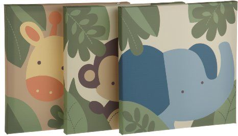 Amazon Com Kids Line Jungle 123 Canvas Wall Art 3 Piece Brown Baby Baby Canvas Wall Art Gift Canvas Print Wall