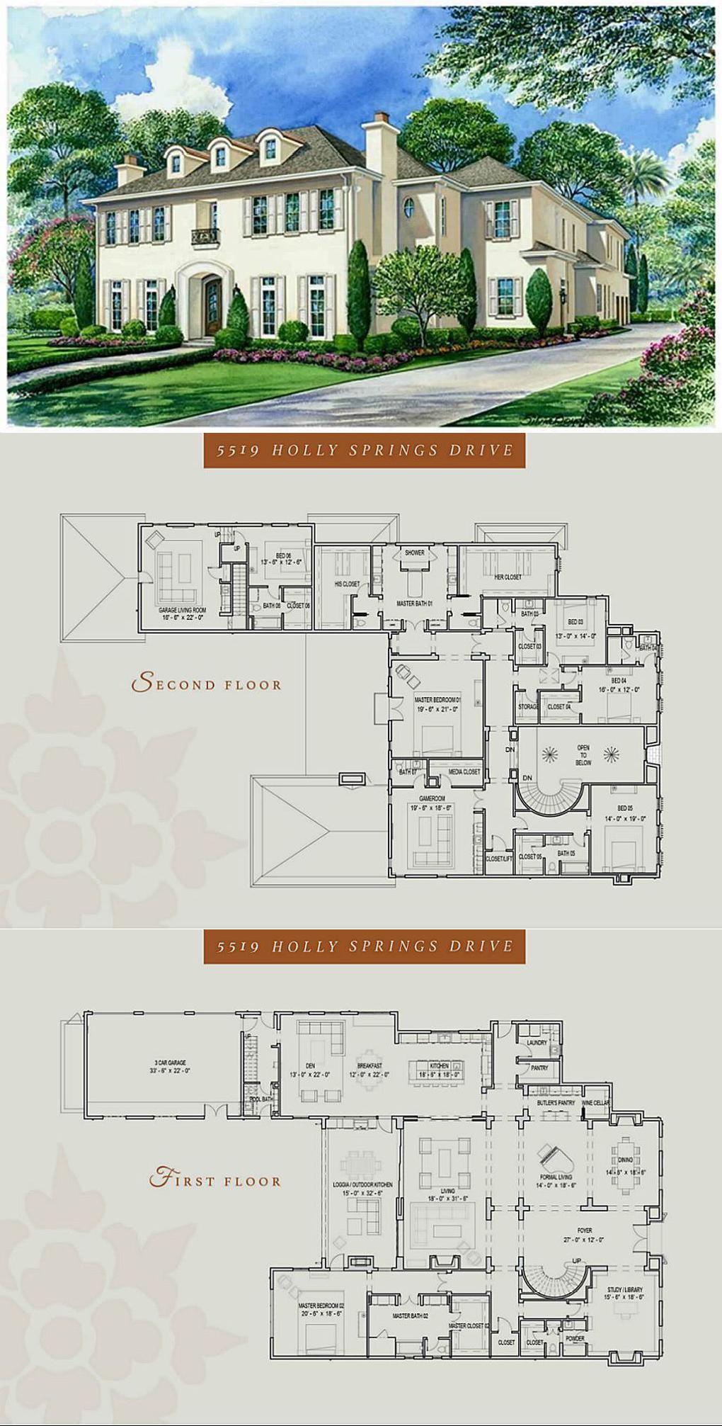 5519 Holly Springs Dr Houston Tx 77056 Mansion Floor Plan House Plans Mansion Mansion Plans
