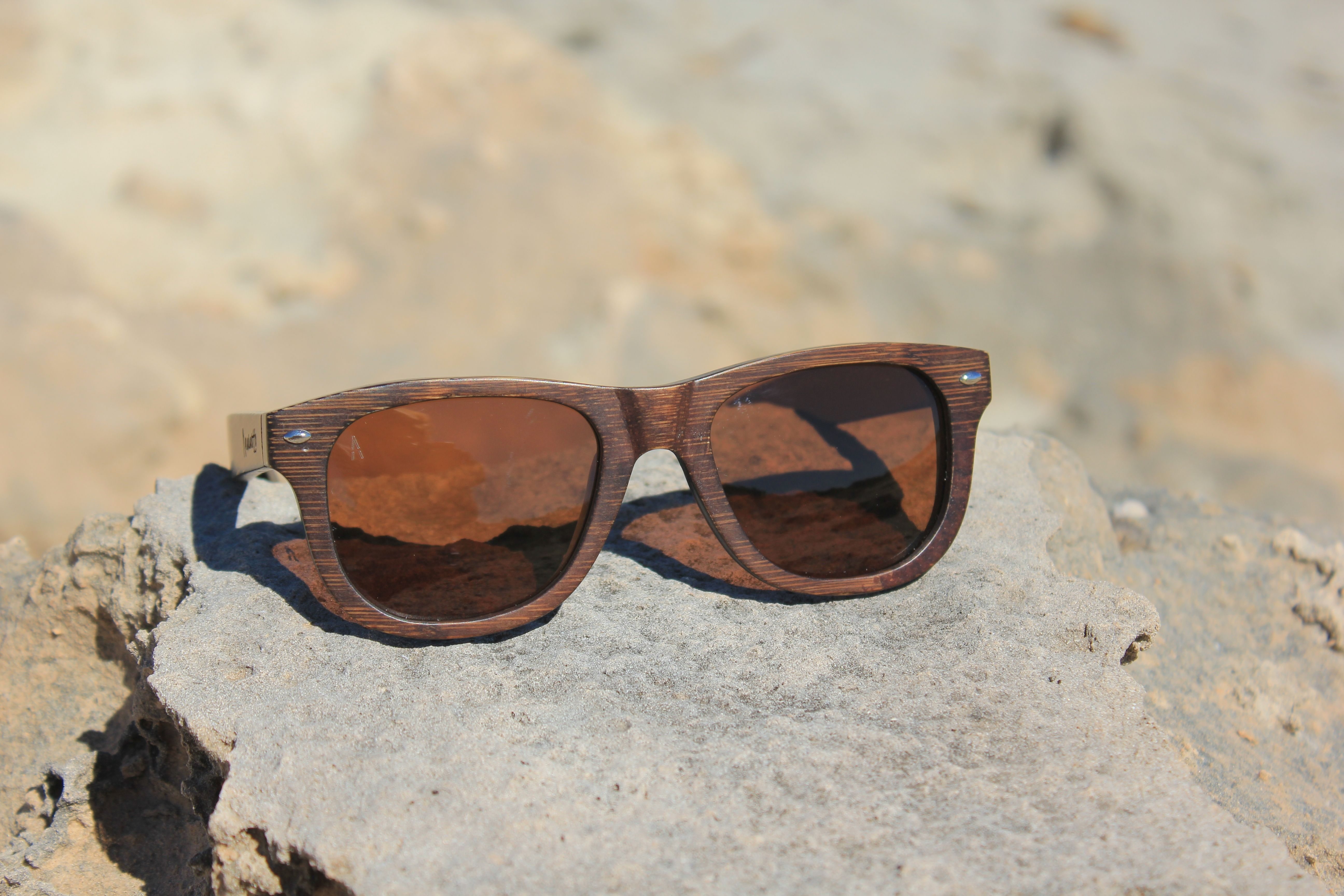 Maya - Gafas de sol unisex, con montura de madera de Bambú oscura ...