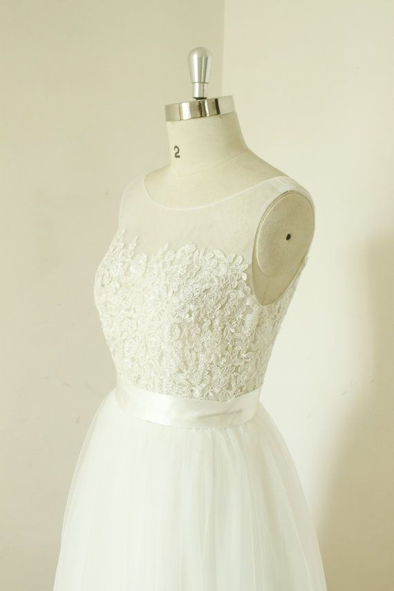 A-line sheer ivory wedding dress, lace tulle wedding gown, see ...