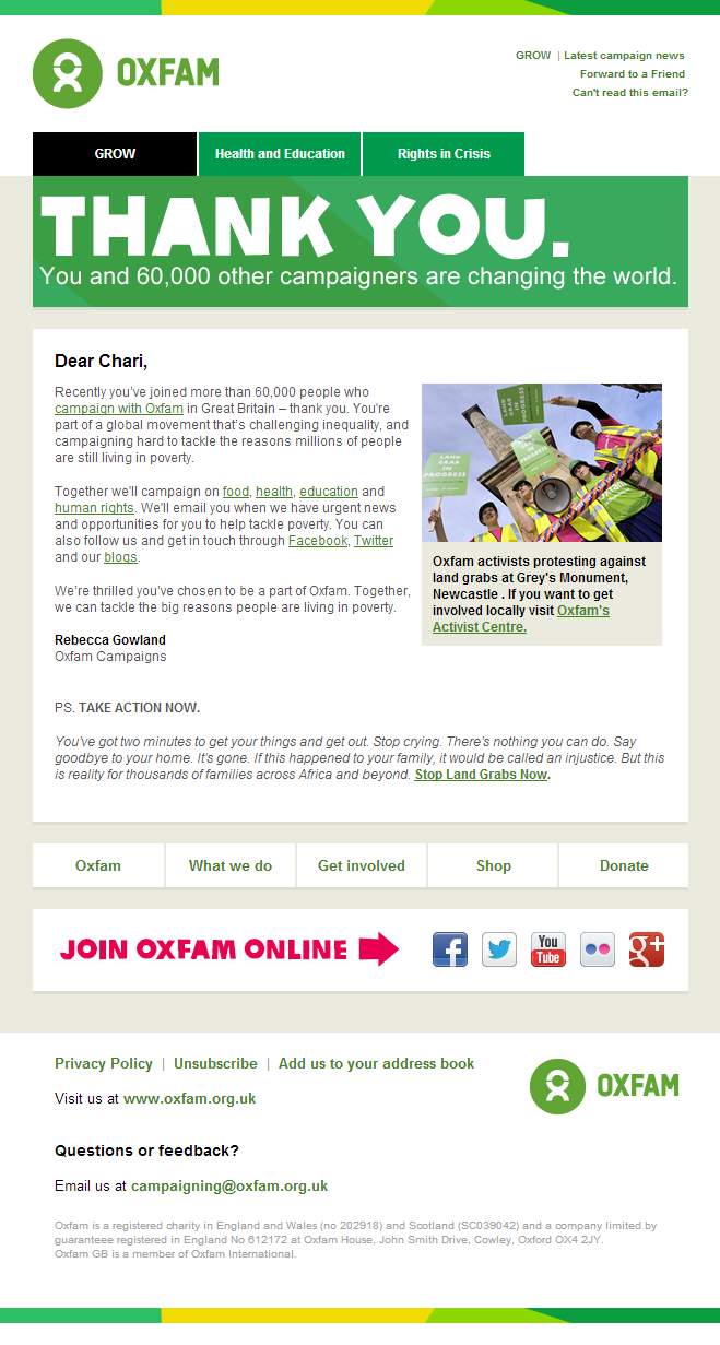 Oxfam  Thank You For Campai Gning With Oxfam  Charity Email