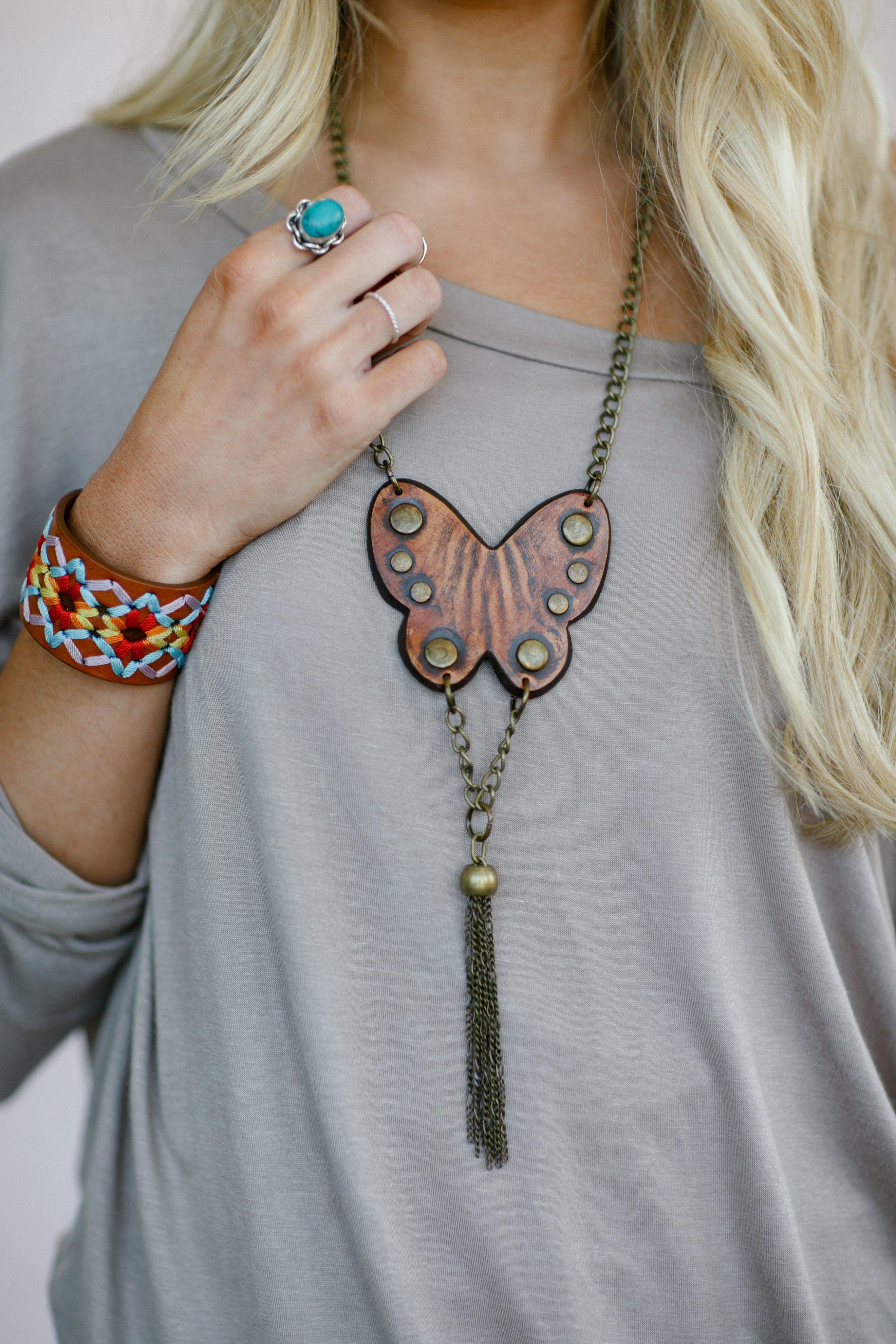 Photo of Butterfly Leather Boho Necklace