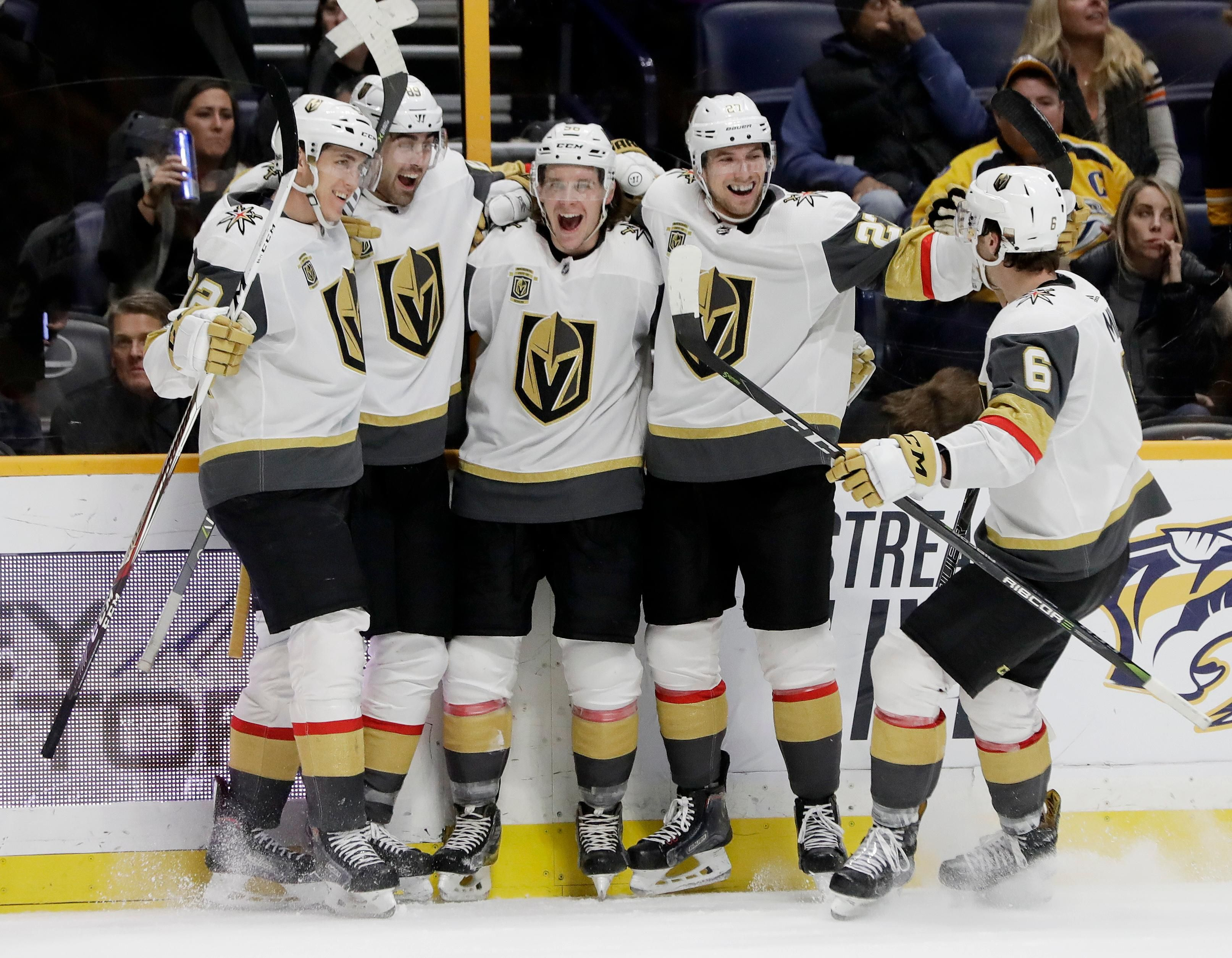 Vegas Golden Knights Left Wing Erik Haula Center Of Finland Celebrates With Teammates After Scorin Golden Knights Vegas Golden Knights Golden Knights Hockey