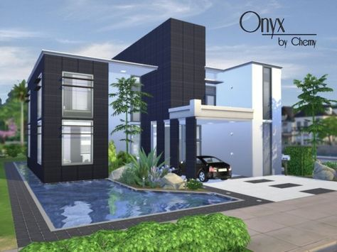 the sims resource: onyx modern housechemy • sims 4 downloads