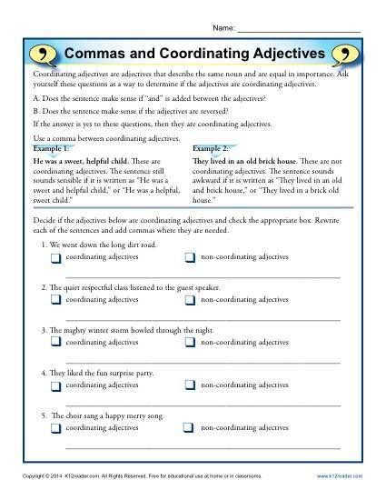 Commas and Coordinating Adjectives | Practicum | Adjective worksheet ...