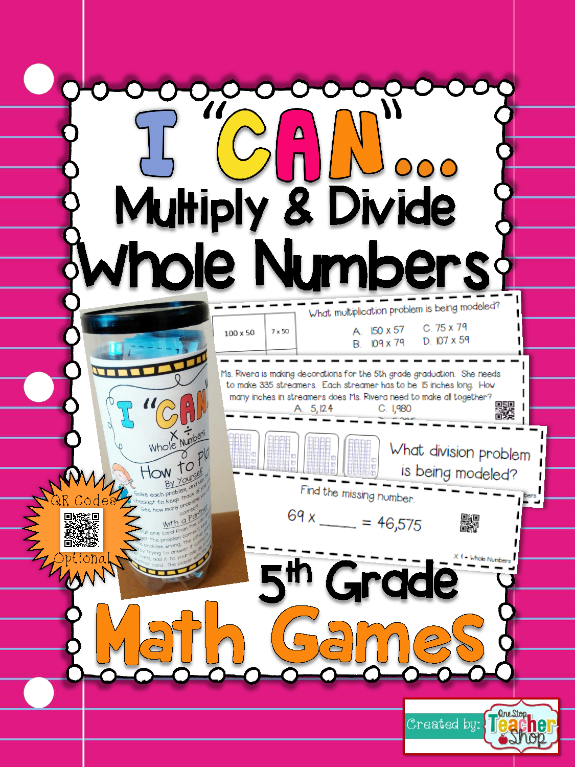 5th Grade Multiplication and Division Game | Math test, Qr codes and ...